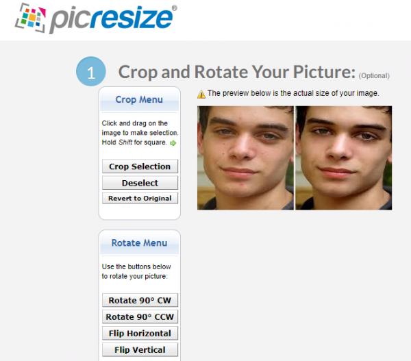 تغییر سایز عکس در سایت picresize.com