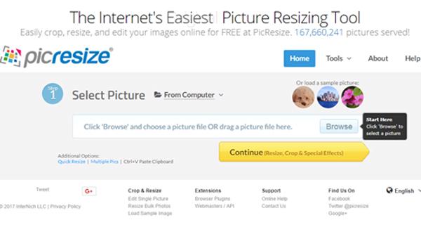تصویر صفحه اصلی سایت picresize.com